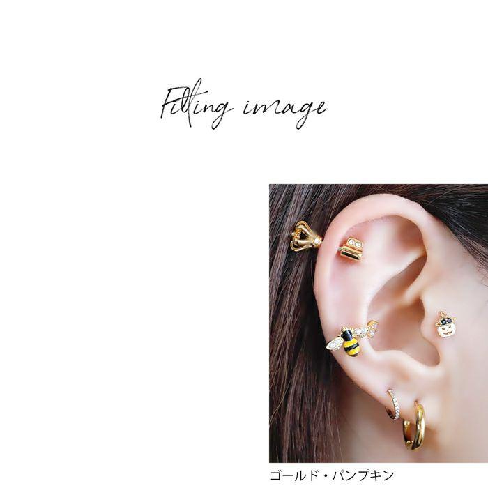 軟骨ピアス16Gボディピアスコウモリ蜘蛛パンプキンハロウィン16ゲージピアスストレートバーベル片耳用サージカルステンレス耳